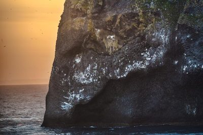 Elephant rock on Heimaey by sunset