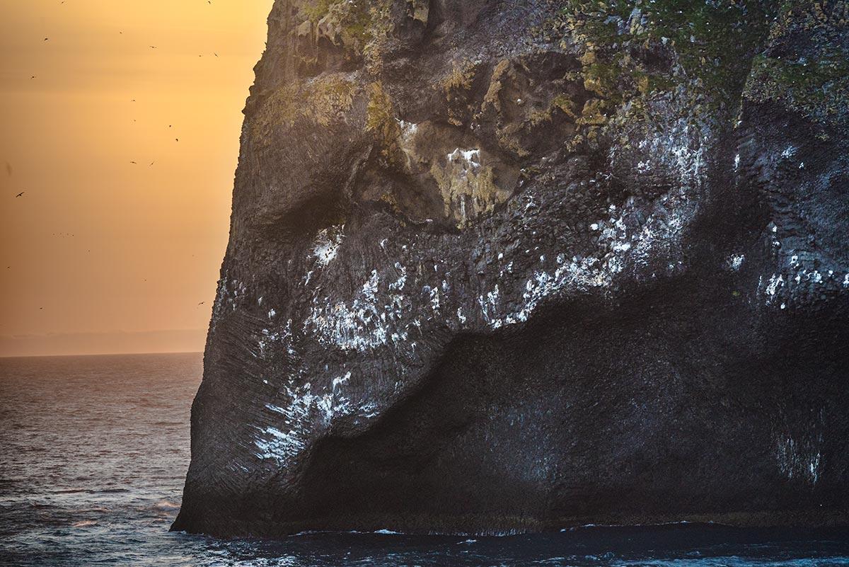 Elephant rock on Heimaey by sunset