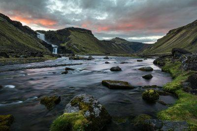 Ófærufoss waterfall and the Eldgjá crater